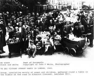 Ve Day victory street party in Albacore Crescent, Lewisham, London, 1945.