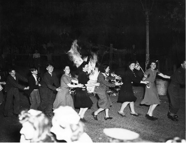 All over London bonfires were lit.