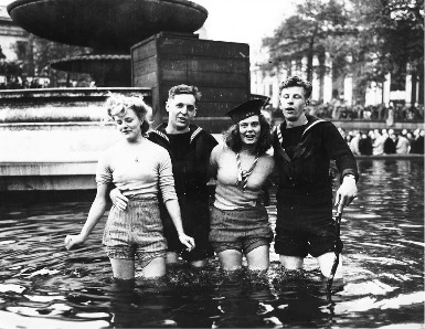Celebrations in Trafalgar Square fountains