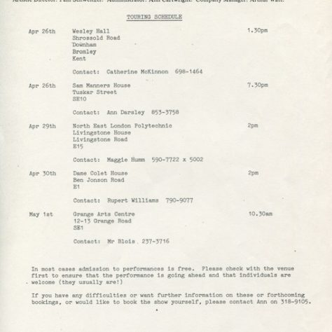 Tour schedule March-April 1985
